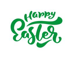 Green Happy Easter handwritten lettering. Happy Easter typography vector design for greeting cards and poster. Design template celebration. Vector illustration