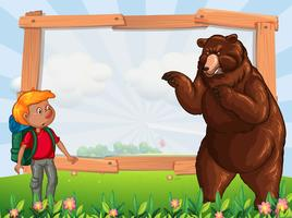 Frame template with hiker and bear vector