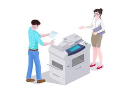 3d isometric composition man and a woman in the office print and copy the files on the printer.