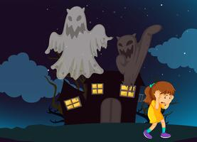 Girl and haunted house at night