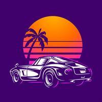 Vetor de ilustração de carro retrô