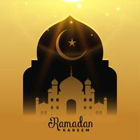 beautiful mosque with falling light, ramadan kareem background