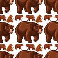 Seamless background with brown bears vector