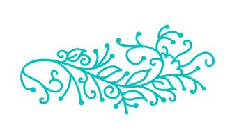 Monoline scandinave turquoise fleurit avec feuilles et fleurs