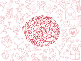 Vektor monoline kalligrafi fras Glad Valentinsdag. Valentine Hand Drawn lettering and elements. Holiday sketch doodle Designkort med hjärta ram. Isolerad illustration dekor för webben, bröllop och tryck