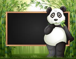 Plantilla de frontera con panda y bambú