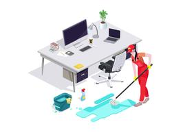 Woman dressed in uniform washes the floor in the office and cleans. Professional cleaning service with equipment and staff.