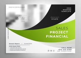 Resumen diseño de folleto de negocio de estilo ondulado verde