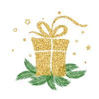 Cadeau d'or vintage vector pour les vacances de Noël. Pour la page de liste de modèles artistiques, style brochure style, couverture d'idée bannière, flyer impression livret, affiche