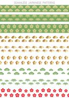 Set of Japanese traditional, seamless patterns, vector illustration.