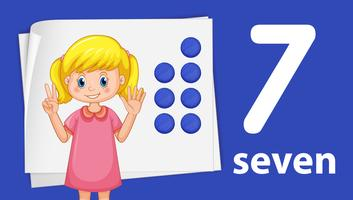 A girl showing number seven