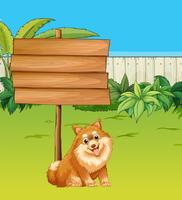 Cão e sinal de madeira no jardim