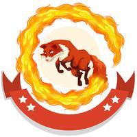Raposa, pular, fogo, aro