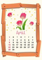 Calendar template for April with pink tulip