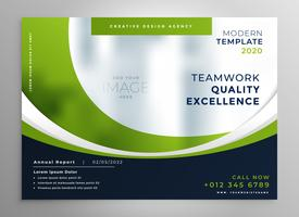 Plantilla de folleto de presentación de negocio ondulado verde