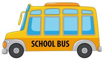 Un autobús escolar en el fondo blanco