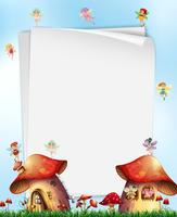 Mushroom House with Fairies Template