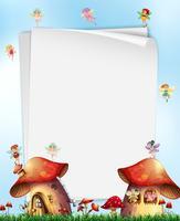Mushroom House with Fairies Template
