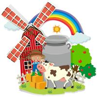 Boer en gezaaid in de boerderij