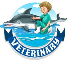 Veterinária, sinal, com, veterinário, e, golfinho