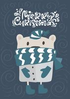 Merry Christmas calligraphy lettering text. Xmas scandinavian greeting card. Hand drawn vector illustration of a cute funny winter bear in scarf and hat. Isolated objects