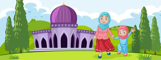 Muslim mother and daughter vector