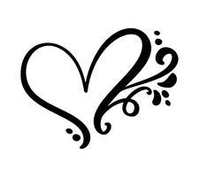 Muestra caligráfica del corazón del amor del vintage