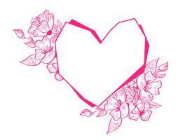 Cadre de géométrie de coeur dessiné main rouge avec fleurs et feuilles