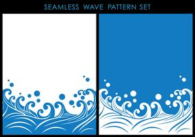 Set of Japanese traditional seamless wave patterns with text space.