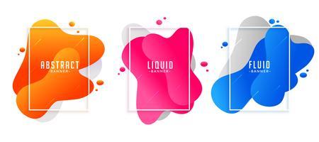 Forma abstracta fluidos líquidos pancartas en diferentes colores.