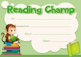 Certificate template with monkey reading book