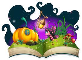 Borboleta voando no jardim mágico