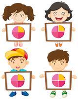 Quattro bambini con cartello con piecharts