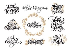 Satz Weinlesekalligraphie-Beschriftungs-Vektortext der frohen Weihnachten mit skandinavischen Gestaltungselementen der Winterzeichnung. Für Kunstdesign, Mockup-Broschürenstil, Broschüren-Flyer, Poster