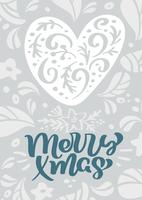 Feliz texto escandinavo de las letras de la caligrafía del vector de Navidad en diseño de la tarjeta de felicitación de la Navidad con el corazón. Dibujado a mano ilustración de textura floral. Objetos aislados