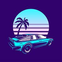 Retro Vintage Vector Car