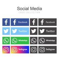 Collection de logo de médias sociaux vecteur