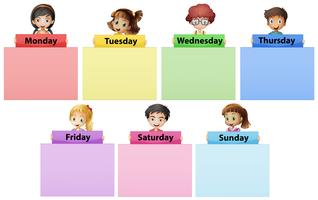 Enfants heureux et sept jours de la semaine
