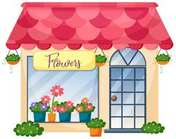 A flower shop on white background