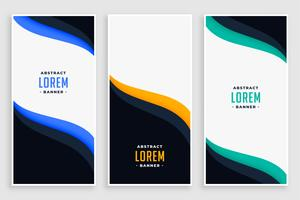 elegant business vertical banners in wave style