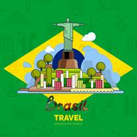 Brazilian landmarks, architecture, on the background of the flag.