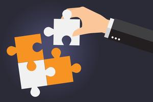 Business people solving oversized jigsaw puzzle together vector