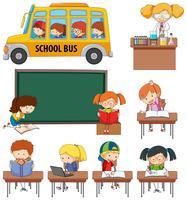 Conjunto de crianças de doodle aprendendo