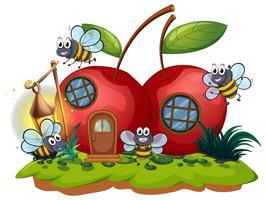 Casa de cereja e muitas abelhas voando