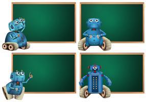 Modello di scheda con robot blu