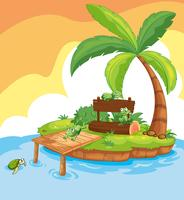Island scene with frogs and signs