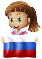 Cute girl and flag of Russia