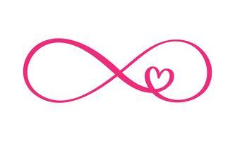 Liefdeswoord In het teken van oneindigheid. Aanmelden op briefkaart naar Valentijnsdag, tatoeage, afdrukken. Vector kalligrafie en belettering illustratie geïsoleerd op een witte achtergrond