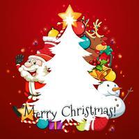 Tarjeta de feliz navidad con santa y arbol