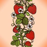 Abstrakt färg sömlöst spetsmönster med blommor, löv och jordgubbe.